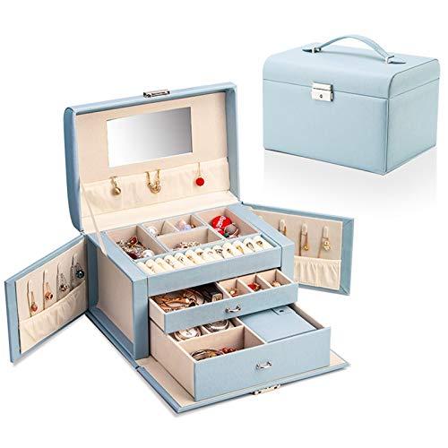 YAOLUU Cajas para Joyas Joyero Jewelry Box Faux Leather Jewelry Organizer para Anillo Collar Pendiente Broche Regalo Vintage para Las Mujeres, Patrón Cross Organizador de Joyas