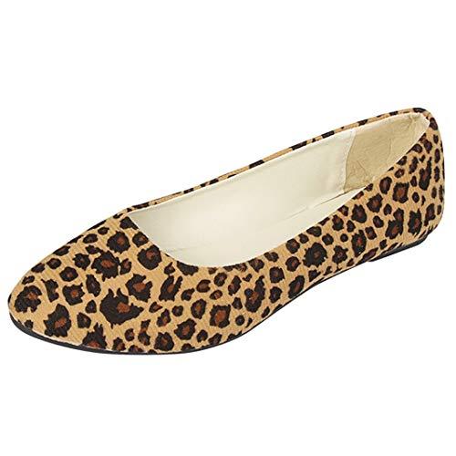 Frauen Leopard Loafers Mode Slip On Ballerinas Spitzzehen Vintage Wildleder Mokassins Elegante Büro Karriere Arbeitsschuhe