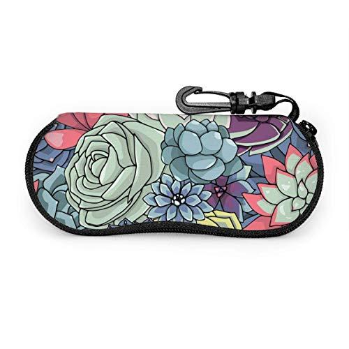 Carneg Gafas de sol portátiles hermosas flores suculentas con hebilla de bloqueo Bolsa suave Funda de gafas con cremallera de tela de buceo ultraligera