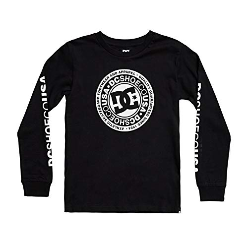 DC Shoes Circle Star-Camiseta De Manga Larga para Chicos 8-16, Niños, Black,...