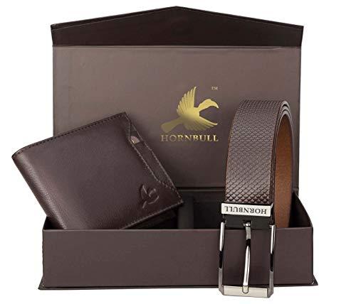 Hornbull Gift Set for Men's - Brown Wallet and Brown Belt Men's Combo Gift Set 6985