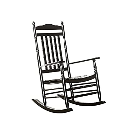 B&Z Rocking Chair Wood Porch Rocker Slat Carved Finish Traditional Old Style - Outdoor/Indoor Use