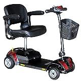YX-ZD Scooters Portátiles Movilidad 4 Ruedas, Scooter Movilidad Plegable para Adultos Mayores Discapacitados, Scooter Eléctrico Ligero, Silla Ruedas Eléctrica, 20 Km Largo Alcance hasta 4 mph,Rojo