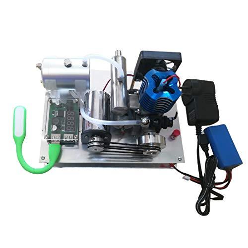 DAN DISCOUNTS Motor Bausatz, Benzin -Verbrennungsmotor Modellbau, Luftgekühlter Zweitaktmotor Bausatz Einzylinder Engine Kit 12V Motor Modell Set - Elektrischer Start