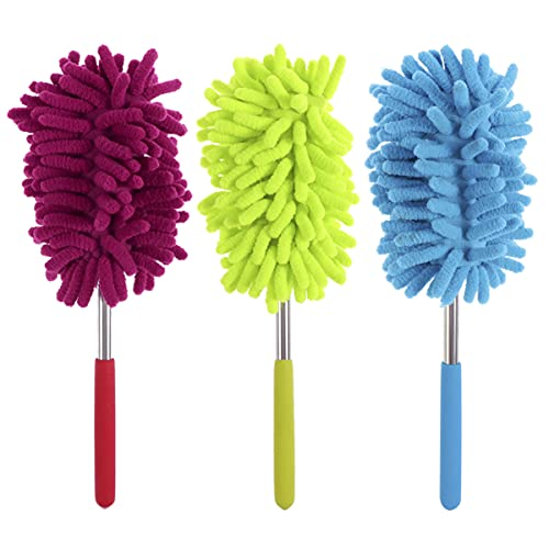 DOITOOL 3pcs Extendable Cleaning Duster Telescopic Dusting Brush Household Hand Duster Cleaner Tool for Home Kitchen Car Random Color