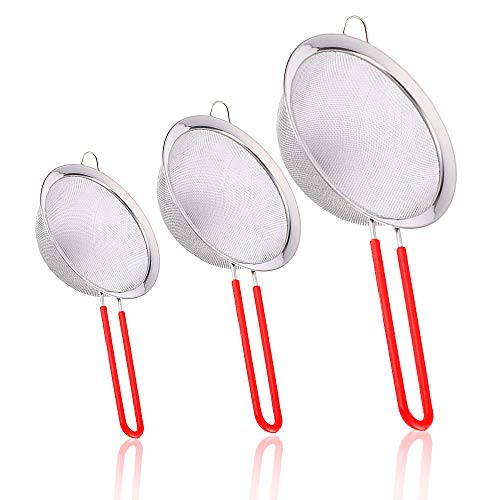 Stainless Steel Fine Mesh Strainers Set of 3, Cool Design Spider Strainer Graduated Sizes Strainer Wire Sieve with Insulated Handle for Kitchen, Cooking, Food Preparation, Lightweight