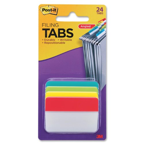 Post-it Tabs, 2 in Angled Solid, Assorted Primary Colors, 6 Tabs/Color, 4 Colors, 24 Tabs/Pack (686A-ALYR)
