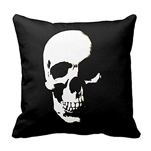Heekie Cojín Funda de Almohada Cover Sofa Decor Decorative Cushion Case Cover,Colivy Black White Skull Throw Pillow Case