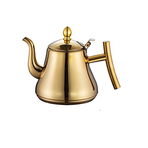 Electric oven Stainless Steel Tea Kettle Flower Teapot Coffee Maker With Strainer, Suitable For Stove Top, Restaurant Office Teapot/1L/1.5L/2L (Color : Gold, Size : 2L)
