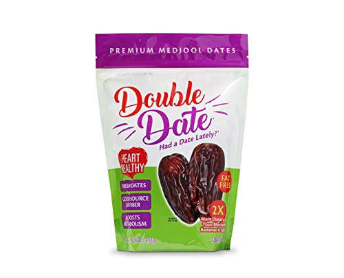 Double Date Dates Medjool, 1lb Pouch Bag Medjool Dates - Coachella Valley California Grown and Packed, Resealable and Recyclable Pouch Bag, Natural Dates, Fresh Flavorful and Plump, Had a Date Lately?