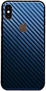 iPhone Xs MAX XR Skin Wrap,Tectom Carbon Fiber Skintz Color Changing Back Sticker Decal (iPhone X, Blue)