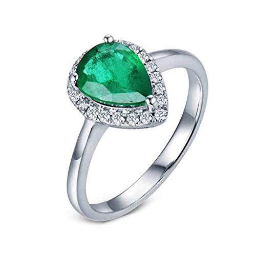 KnSam 18K White Gold Rings Teardrop 3 Prong Pear Cut Green Emerald 1.1ct VS and 0.14ct Diamond Silver Ring Size L 1/2