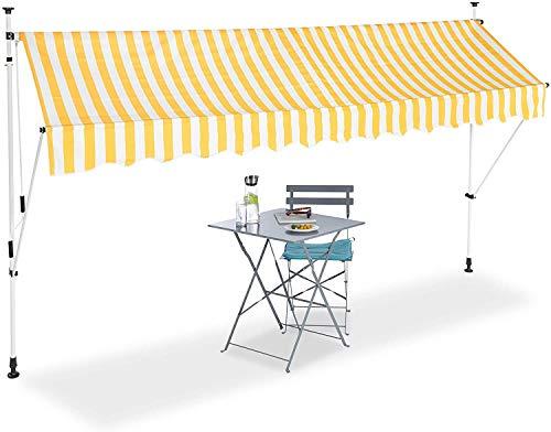 XIAO&WEICHENG Teleskopüberdachung, Balkon-Sonnenschutz, Klemmmarkise, Ohne Bohren, Versenkbar Und Verstellbar, Breite 350 cm, Gelb/Weiße Streifen, Multi, 350 X 120 cm