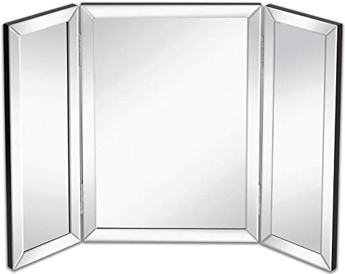 Hamilton Hills Trifold Vanity Mirror | Solid Hinged Sided Tri-fold Beveled Mirrored Edges | 3 Way Hangable on Wall or Tabletop Cosmetic & Makeup Mirror 21' x 30'