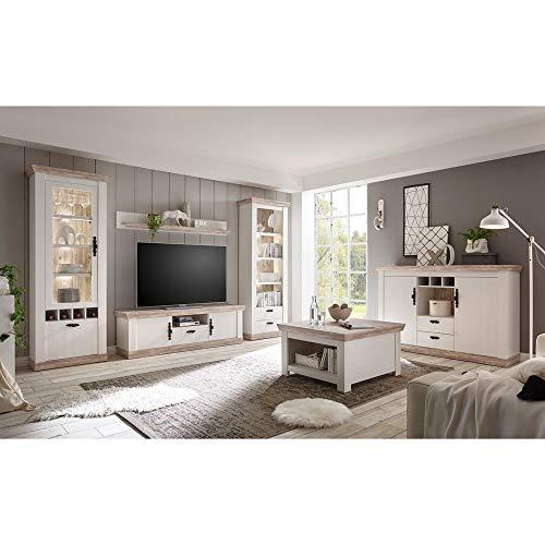 Lomadox Landhaus Wohnzimmer Wohnwand Set inkl. Couchtisch & Anrichte, Pinie weiß und Oslo dunkel Nb, inkl. Beleuchtung