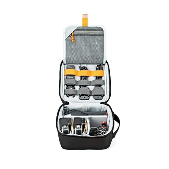Lowepro LP36915 ViewPoint CS 40 - A Soft-Sided Protective Case for a Smartphone, GoPro or 360 Camera and Accessories… 5 Smart interior organization includes adjustable dividers, three with a built-in pockets to stash a backdoor, filter or remote (and keep it from scratching camera); plus a roomy zippered pocket for cables, backdoors, mounts, tools, manuals, etc.; top panel with built-in memory pockets; plus a padded panel with stretching webbing straps to organize and secure cables and mounts Super-portable design makes it easy to carry in a larger bag or carry by the grab handle. Exterior webbing straps provide extra carry and attach options.