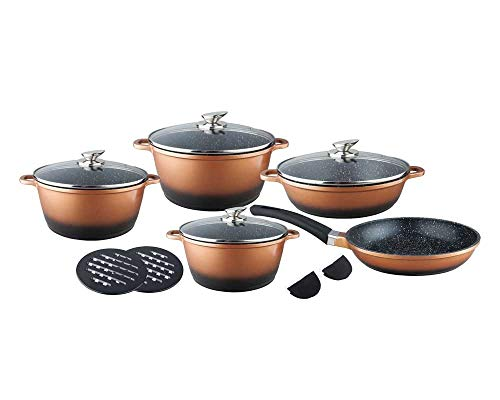 Michelino 10511 - Batería de cocina (13 piezas), color cobre y negro