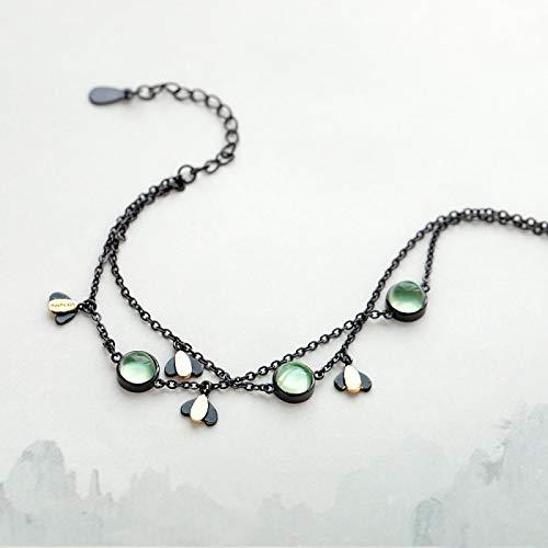 aolongwl Pulsera de plata 925 con piedras preciosas de cristal verde y cadena negra de verano de la noche de joyera para las mujeres del espritu de guardin regalo