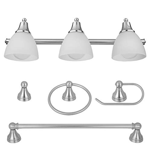 Globe Electric 50700 3-Light Vanity All-In-One Bathroom Set, 5 Piece Brushed Steel Finish, 70