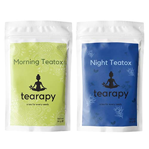 Tearapy Detox Tea Pack | 30 Days Full Body Detox and Weight Management Herbal Loose Leaf Tea Blend | Morning Teatox Energy Tea and Night Teatox Body Cleanse | UK Product