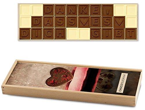 DANKE, DASS ES DICH GIBT ChocoTelegram | Schokoladenbotschaft | Ich liebe und vermisse dich Schokolade | Holzschachtel | Valentinstag | Liebesgeschenk | Liebesgeschenke | Frauen | Männer | Frau