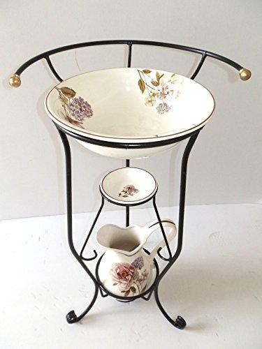 ArterameFerro Toilettenset, komplettes Waschbecken aus Keramik, Toskana, 3 Stück mit Blumen aus Schmiedeeisen