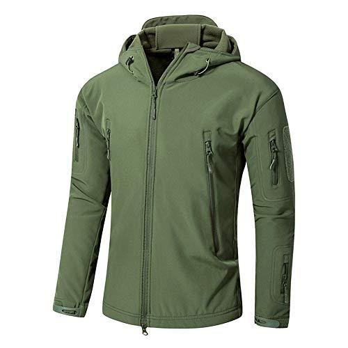 Dr.FITNESS Vestes Softshell pour Homme Militaire Camouflage Chauds Tactiques Polaire Capuche Manteau Outdoor Randonnée Camping Chasse BlousonGreen-XXXXXL