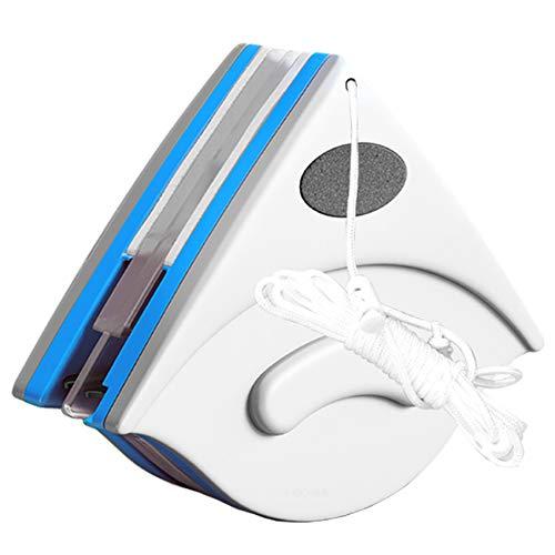 EasyULT Magnetico a Doppio Lato Vetri Calamita Superficie Spazzola con Corda Anti-Caduta, Spessore 3-8mm, per Finestre Vetro Elevate e Finestrini Dell'auto(Blu)