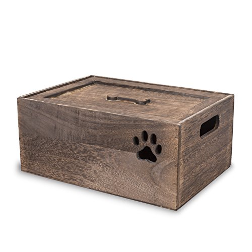 Dog Toys Chest Storage Collection Box With Lid Wooden Crates Gift Hampers (Extra Large)