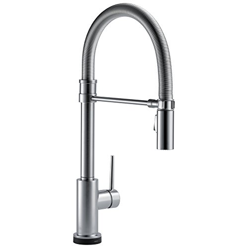 Product Image of the DELTA FAUCET Trinsic Pro Single-Handle Spring Spout Touch Kitchen Sink Faucet with Pull Down Sprayer, Touch2O Technology and Magnetic Docking Spray Head, Arctic Stainless 9659T-AR-DST