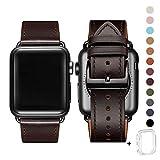 WFEAGL コンパチブル Apple Watch バンド,は本革レザーを使い、iWatch SE、Series 6/5/4/3/2/1、Sport、Edition向けのバンド交換ストラップです コンパチブル アップルウォッチ バンド(42mm 44mm, レトロなダークブラウン+黒 四角い バックル)