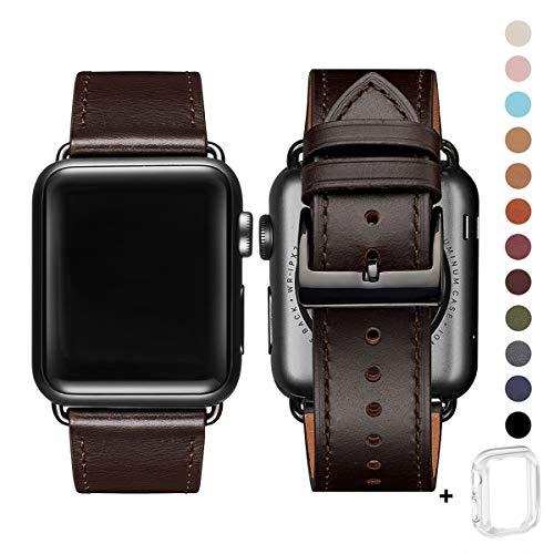 WFEAGL コンパチブル Apple Watch バンド,は本革レザーを使い、iWatch Series 5/4/3/2/1、Sport、Edition向けのバンド交換ストラップです コンパチブル アップルウォッチ バンド (42mm 44mm, レトロなダークブラウン+黒 四角い バックル)
