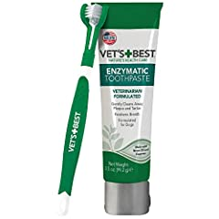 SOOTHING AND EFFECTIVE - Vet's Best Enzymatic Dental Gel Toothpaste is a veterinarian formulated soothing and effective mix of aloe, neem oil, grapefruit seed extract, baking soda, and enzymes CLEANS AND FRESHENS - Freshens breath and gently cleans a...