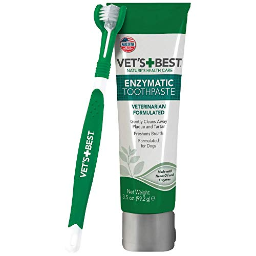 Vet's Best Dog Toothbrush and Enzymatic Toothpaste Set | Teeth Cleaning and Fresh Breath Kit with Dental Care Guide | Vet Formulated