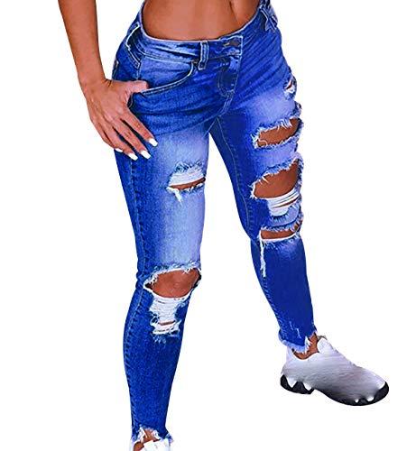 Vaqueros Rotos Mujer Cintura Alta Skinny Jeans Tiro Alto Mujer Larga Tejanos Pantalon Vaquero Pitillo Roto Mujer Ripped Jean Mujer Denim Jeans Talle Alto Slim Pitillos Mujer Tallas Grandes Azul 2XL