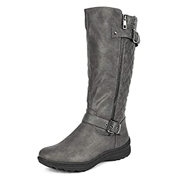 DREAM PAIRS Women's Grey Knee High Boots Tall Faux Fur Lined Retro Winter Fashion Rading Boots for Women Urva 7.5M US