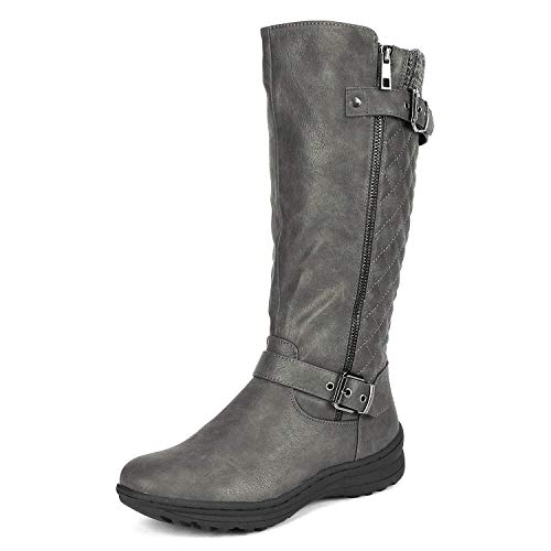 DREAM PAIRS Women's Grey Knee High Boots Tall Faux Fur Lined Retro Winter Fashion Rading Boots for Women Urva 7M US