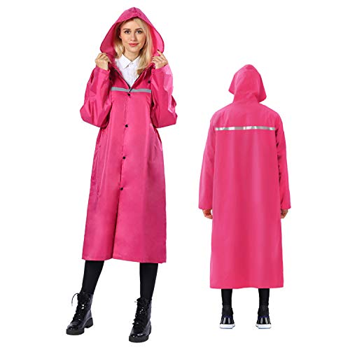 Premium Rain Poncho Waterproof Reusable with Reflective Tape,Raincoat Lightweight Durable with Drawstring Hoods Sleeves for Adults Womens Mens Ladies,Rain Coat for Cycling Camping Hiking(Rose Red,2XL)