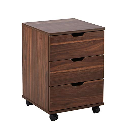 Vicllax 3 Drawer Dresser Mobile Cabinet Under Desk Storage with Casters for Home Office, Brown Walnut