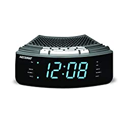 Nelsonic AM/FM Clock Radio – Built in Aux Cord – 10 FM and 10 AM Preset Station Choices – Wake to Music - Dual Alarm and Large Blue LED Display