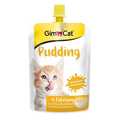 GimCat Pudding met calcium – kattensnack van echte melkzuur gereduceerde volle melk voor gezonde botten – 1 zakje (1 x 150 g)