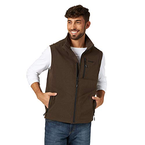 Wrangler Men's Concealed Carry Stretch Trail Vest, Brown Heather, XL