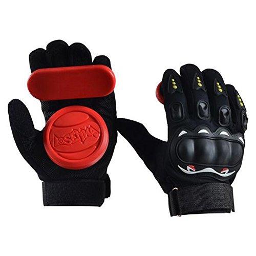 Acoser Longboard Downhill Slide Handschuhe Skate Handschuhe mit Slide Pucks (rot)