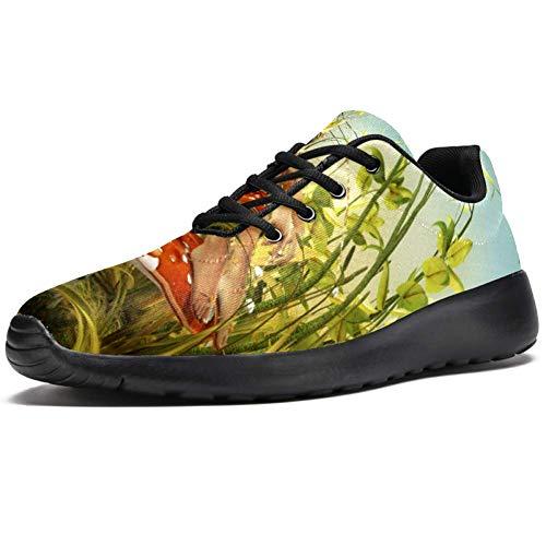 TIZORAX Zapatillas de correr para hombre, diseño de mariposas y hongos, de moda, de malla, transpirables, para caminar, senderismo, tenis