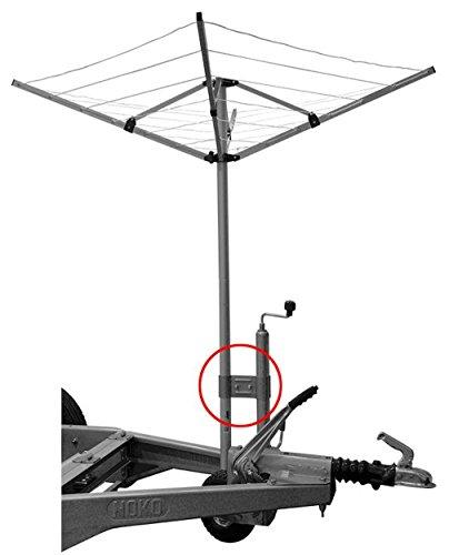 iapyx Stützradhalter Halterung für Deichsel Stützräder Klemmhalter für Wäschespinne oder SAT Antenne Mast, Wohnwagen Camping etc