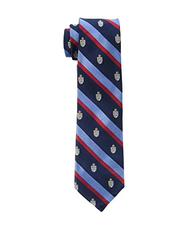Hackett London Corbata Seda Shield On Stripe Azul Oscuro