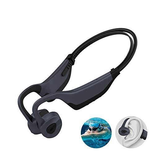 EDANQ IP8 Impermeable Auriculares Bluetooth 5.0, Auriculares Bluetooth de Conducción ósea, Nuevo 16GB Reproductor de Musica MP3, Cancelación de Ruido, Gimnasio Correr Nadar,Black Gray