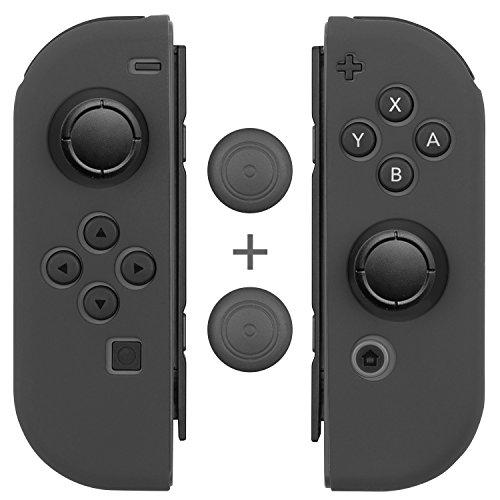 Joy Con Grips (1 Pair / 4pcs), Fosmon Anti-Slip Silicone Joy Con Gel Guards Skin Cover L/R with Thumb Stick Caps for Nintendo Switch Joy Con Controller (Gray)