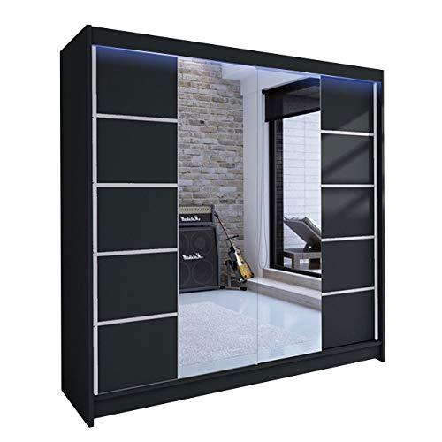 Mirjan24 Kleiderschrank Talin V, Schwebetürenschrank, Garderobenschrank mit Kleiderstange und Einlegeboden, Schlafzimmerschrank, Dielenschrank (Schwarz/Schwarz + Spiegel, mit RGB LED Beleuchtung)