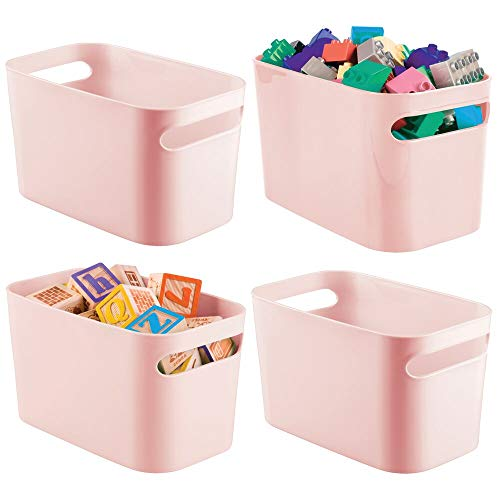 mDesign Plastic Toy Box Storage Organizer Tote Bin with Handles for Child/Kids Bedroom, Toy Room, Playroom - Holds Action Figures, Crayons, Building Blocks, Crafts - 10' High, 4 Pack - Light Pink